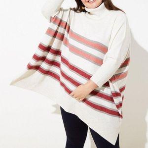 Loft Plus Sweater Poncho with Neutral Stripes